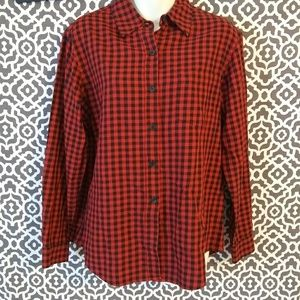 Evan Picone Red Plaid Fall Button Up Blouse Size 8